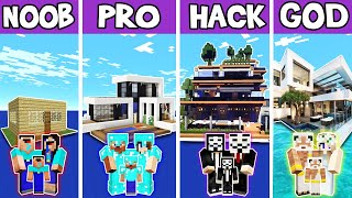 Minecraft: FAMILY PARADISE ISLAND HOUSE BUILD CHALLENGE - NOOB vs PRO vs HACKER vs GOD in Minecraft