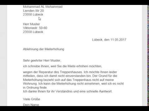 كتابة بريد العنوان رفض زيادة الاجار Ablehnung Der Mieterhöhung