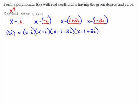 write a polynomial in standard form with zeros subs