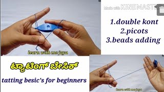 Baixar tatting besics double knot.picots.beads adding for beginners .learn with me jaya