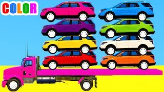 Learn Colors with SUV Cars & Spiderman Cartoon 3d w Bus Superheroes for kids and babies