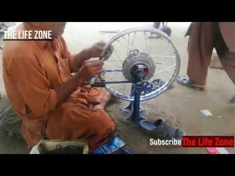 Motorcycle Rim Repair   Wire-Spoked Wheel Changing Repairing Of Bike