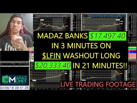 LIVE TRADING VIDEO – Madaz Banks $17.4K in 3 Minutes on $LFIN Washout Long; $20.3K in 21 Minutes!