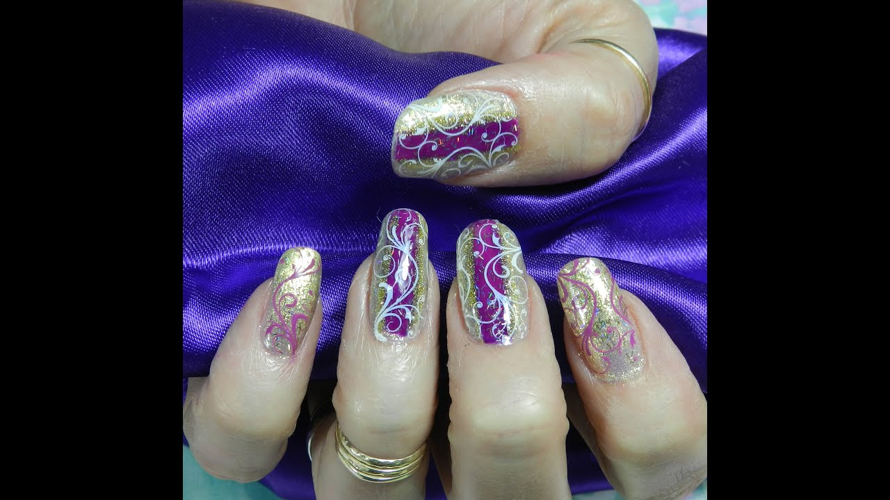 Stamping Nail Art Design Purple On Gold With Swirls Inspired By