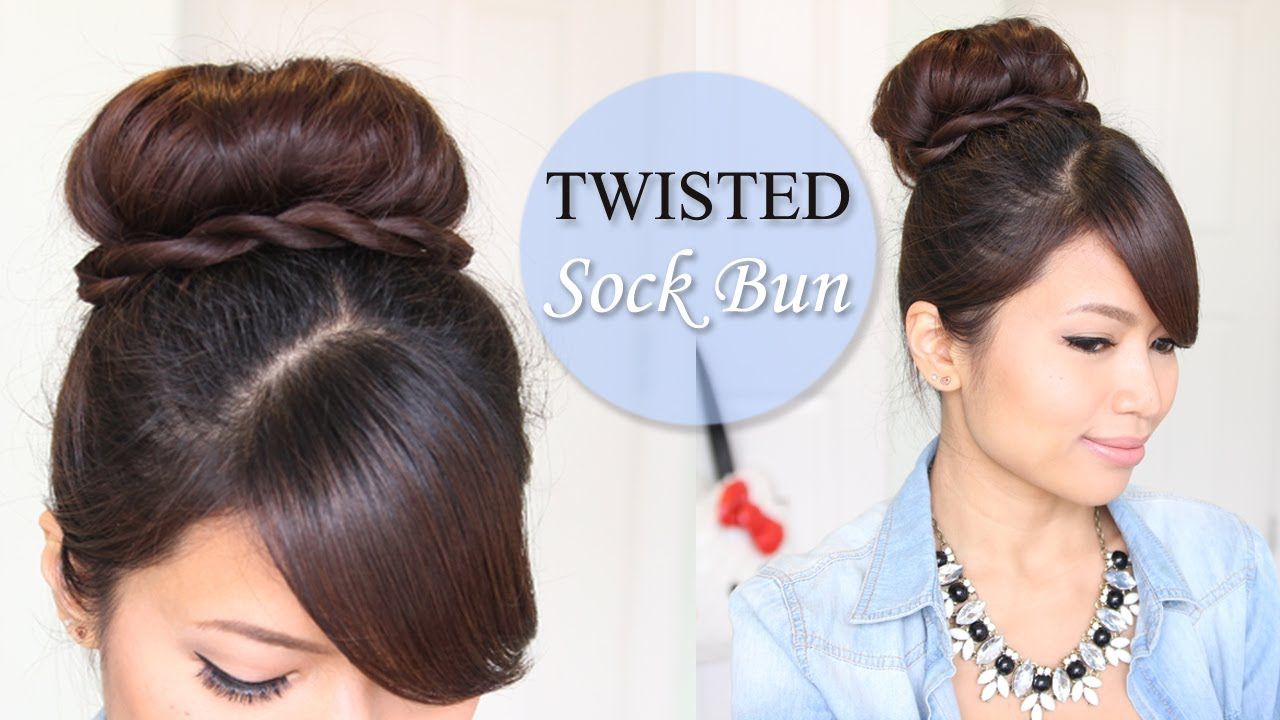 Twisted Sock Bun Updo Hairstyle Long Hair Tutorial Youtube