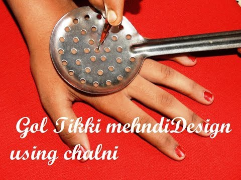 New Gol Tikki Mehndi Design Using Kitchen Utensile Chalni Simple Mehndi on Hands With Dots