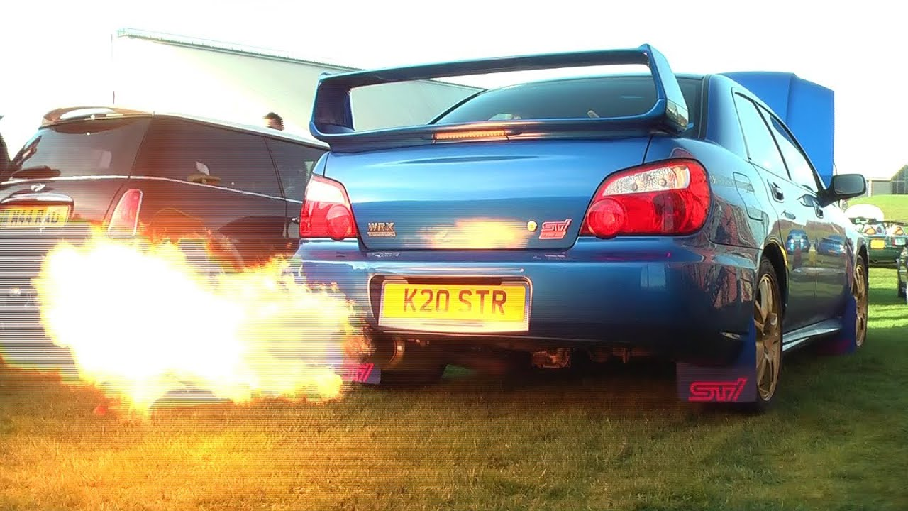 Subaru Launch Control >> Bee*R Rev limiter launch control flames Subaru Impreza WRX STi Blitz Nur Spec R - YouTube