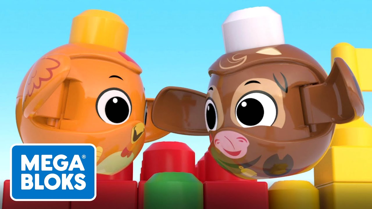 Mega Bloks™ - Chicken and Cow Race To The Top | Cartoons For Kids | Fisher-Price | Learning For Kids