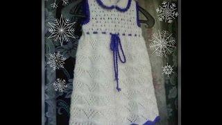 Ажурное платье спицами для девочки .Часть 3 - заключительная
