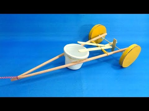 How To Make a Dragging Drum Car - Children's Walker Toy Pull Cart