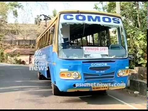 Private bus attacked in Kollam for not participating in strike