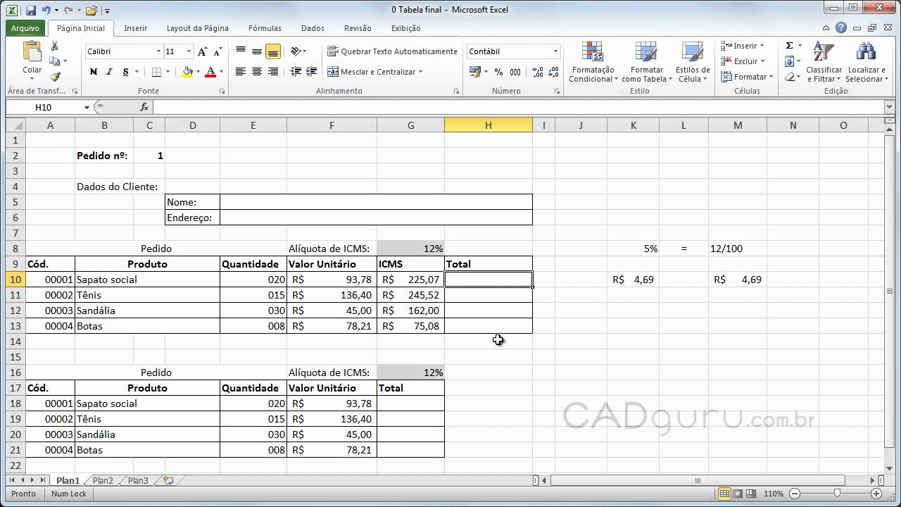 Aula 20.20  Montando suas fórmulas no Microsoft Excel 20010   Curso Gratuito  Excel 20010   CADguru