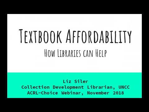 Case Studies On Course Material Affordability Programs At North American University Libraries 201811