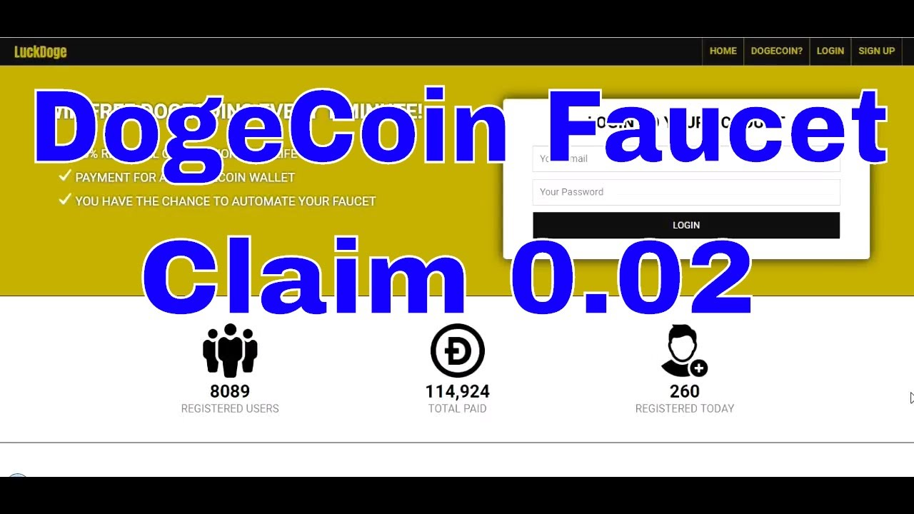 LuckDoge Tk New Update Claim Every 1 Minutes 0 02 Free Earn DogeCoin 2018 $  Online Income Ak $