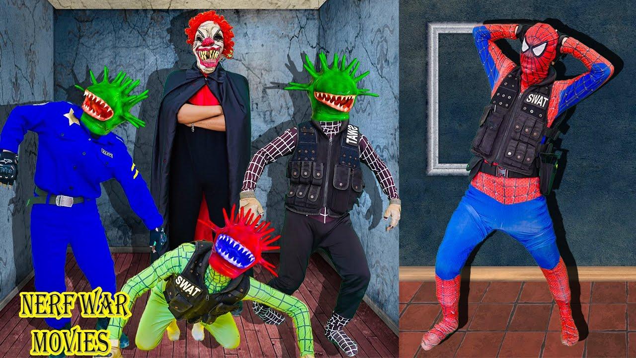 Nerf War Movies: Spiderman X Warriors Nerf Guns Fight Criminal Group Couple Killer Clown Attack