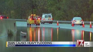 Heavy rain causes flooding in areas of the Triangle