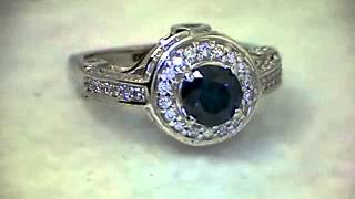 FANCY BLUE DIAMOND ROUND SHAPE SOLITAIRE ACCENT GOLD RING