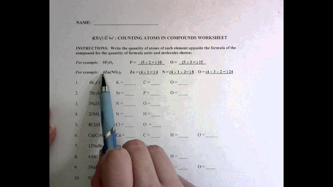 worksheet Counting Atoms Worksheet Grade 9 review counting atoms in compounds youtube