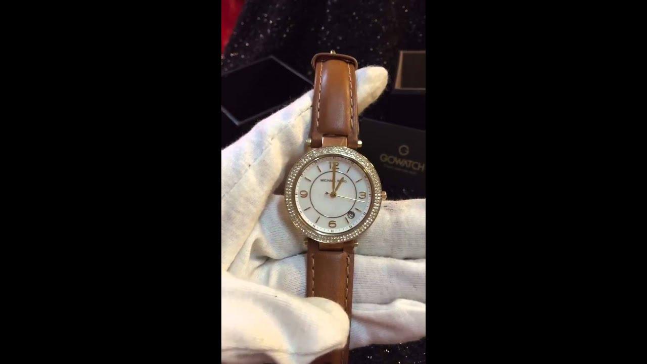 Michael Kors Women's Mini Parker Brown Leather Strap Watch ...