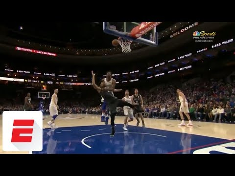 Joel Embiid gets flagrant foul for grabbing Spencer Dinwiddie around neck on shot attempt | ESPN