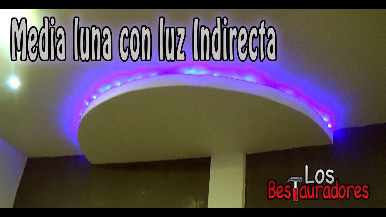 Como hacer media luna de tablaroca con luz indirecta youtube for Como poner chirok en el techo