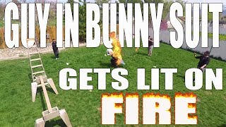 Guy In Bunny Suit Gets Lit On Fire