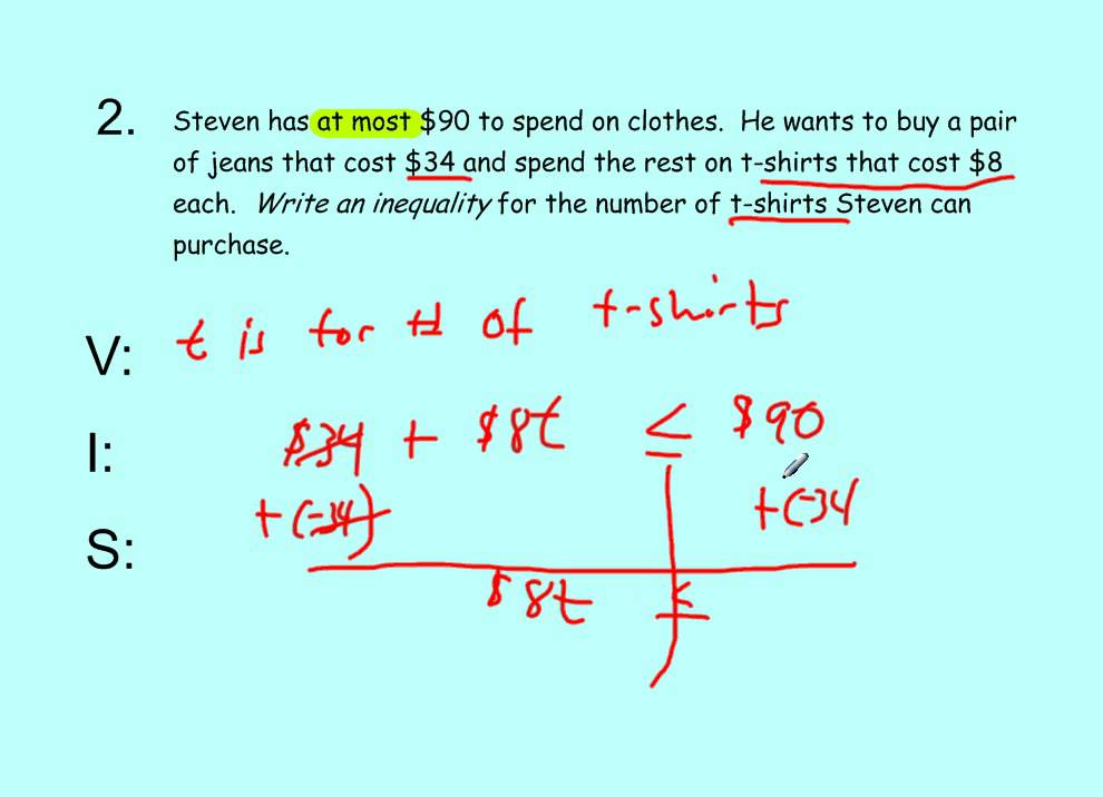 Common Core Math Video 21 Solving Inequality Word Problems YouTube – Solving Inequalities Word Problems Worksheet