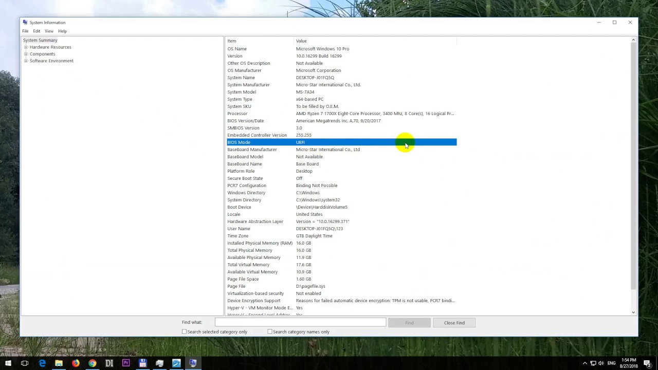 How to check if Windows 10 is running in Legacy or in UEFI mode (msinfo32,  BIOS mode)
