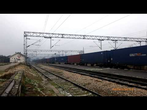 ŽS 444-018 on a freight train through Stalać, Serbia, 02-12-2017