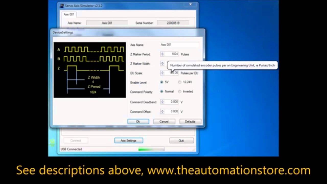 Servo Simulator USB for CNC and Motion Control Applications Free Software  Configuration