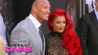 eva marie walks the red carpet with the rock total divas september 8 2015