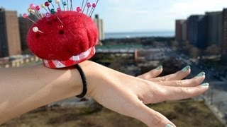 ✂ How to make a wrist band pin cushion using recycled materials - Natalie's Creations