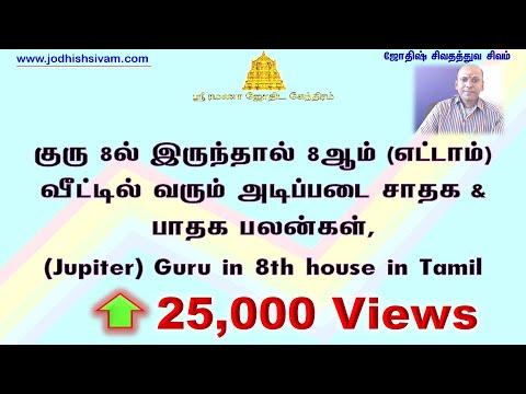 குரு 8ல் இருந்தால் 8ஆம் (எட்டாம்) வீட்டில் வரும் அடிப்படை பலன் (Jupiter) Guru in 8th house in Tamil