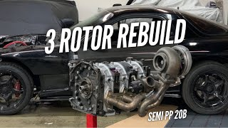 Rebuilding a 900HP 3 Rotor RX-7 with Used Parts.  Nothing blurred out!