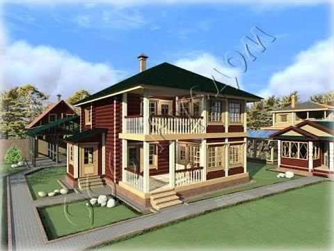 Проект деревянного дома с балконом и верандой Елена