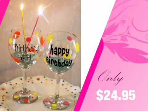 polka dot happy birthday wine glass personalized with name advantagebridalcom youtube - Happy Birthday Wine Glass