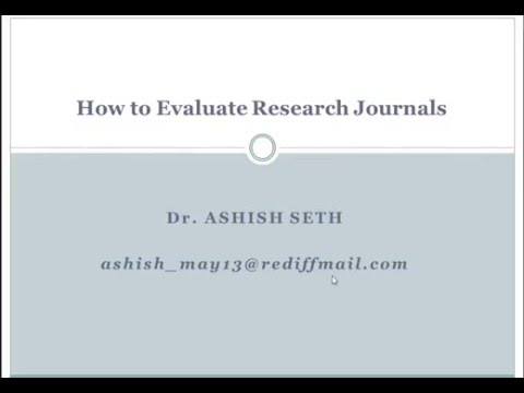 Evaluating Research Journals