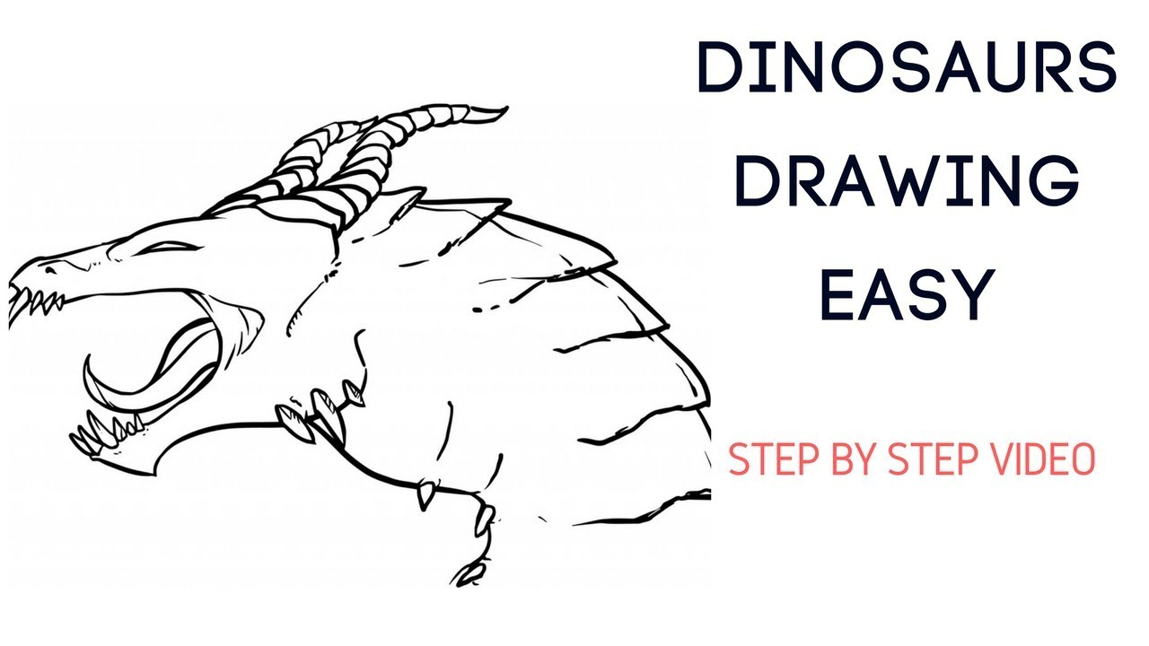 How to draw dinosaurs step by step easy video how to draw dinosaurs for kids