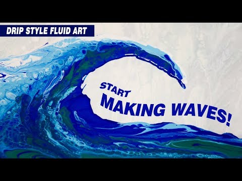 Blue Wave Fluid Art with Acrylic Floetrol Glue & Silicone with Swipe Technique for Cells