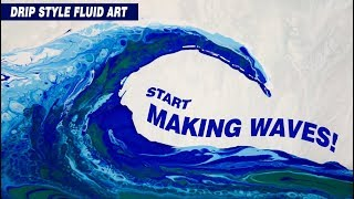 Blue Wave Fluid Art Acrylic Floetrol Glue Silicone Swipe Technique Cells