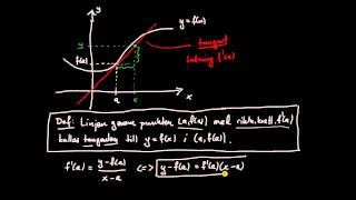 Derivata del 3 - ekvation för en tangent till en funktionskurva