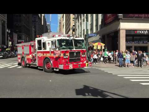 FDNY ENGINE 26 RESPONDING ON WEST 34TH STREET IN THE MIDTOWN AREA OF MANHATTAN IN NEW YORK CITY.