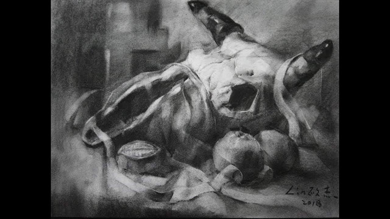 素描教學 - 有牛骨頭的考題示範 - YouTube