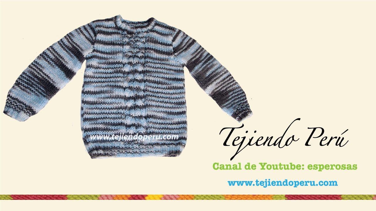 Chompa o sweater tejdo en dos agujas para niños (Parte 3) - YouTube
