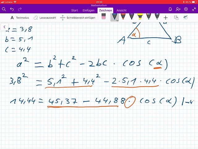 Schülerfrage: Winkel bestimmen, wenn drei Seiten gegeben sind