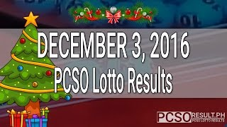 PCSO Lotto Results December 3, 2016 (6/55, 6/42, 6D, Swertres & EZ2)