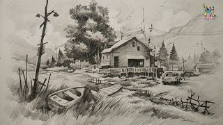 How To Draw and Shade A House With Landscape At Mountain Place | Drawing | Shading | With PENCIL