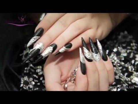 Дизайн ногтей Черный кардинал (эффект хром-лак, объемный дизайн)