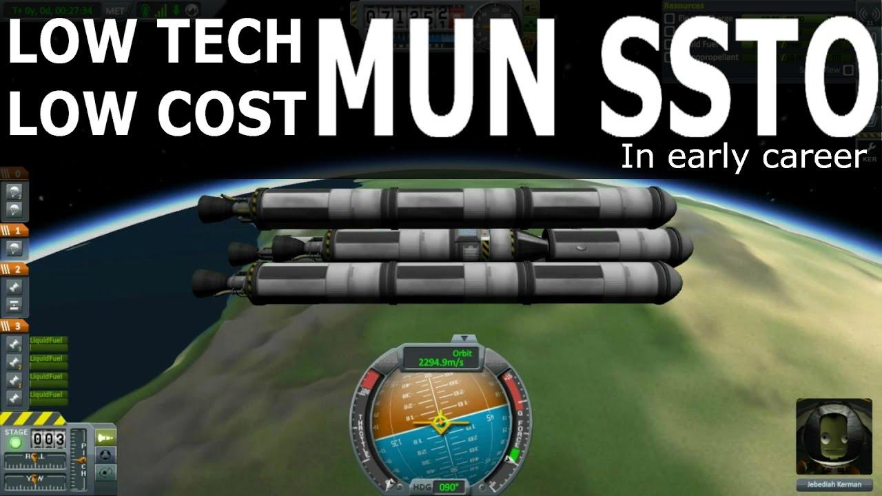 Low Tech/Cost Mun SSTO (early career) - Kerbal Space Program
