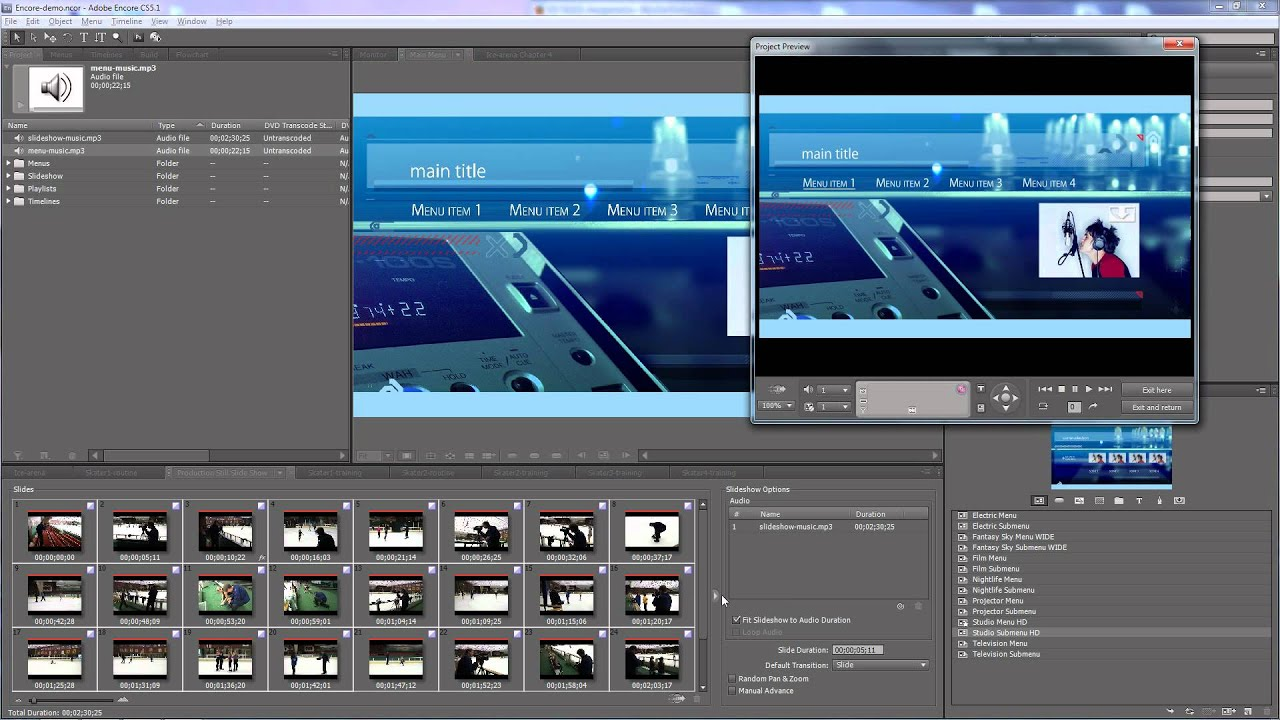 adobe encore menu templates download free - adobe encore authoring a dvd part 2 adding and editing
